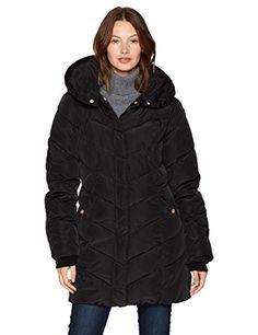 Steve Madden Women's Long Heavy Weight Puffer Jacket, Black a, Medium