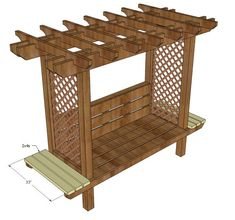 Ana white build a outdoor bench with arbor free and easy diy Pergola Lighting, Outdoor Pergola, Pergola Plans, Diy Pergola, Pergola Kits, Outdoor Chairs, Outdoor Furniture Plans, Pallet Furniture, Modern Furniture