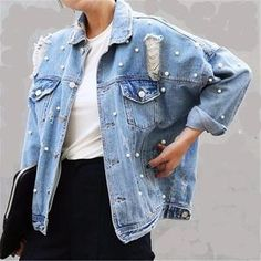 Raining Pearls | Boyfriend Jean Jacket