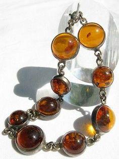 Vintage Scandinavian Signed Hallmarks Amber Sterling Silver Link Bracelet