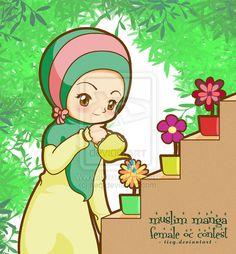 Muslim girl watering flowers