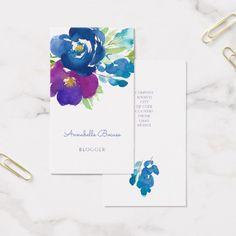 Violet Watercolor Flower Bouquet Business Card