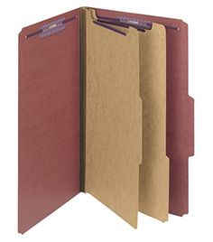 Smead Pressboard Classification File Folder with SafeSHIELD Fasteners 2 Dividers 2 Expansion Legal Size Red 10 per Box 19075 ** ** AMAZON BEST BUY **