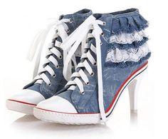 Hippe Jeans Spijker Hoge Hak Sneakers Vans Met Kanten - Kleine maat damesschoenen laarzen pumps hakken 30 31 32 33 34 35 36 37 38 39 kleine maat schoenen