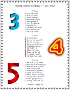 Free sentences for auditory memory! Here is a list of 3, 4, and 5 word ...