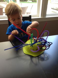 Toddler activity... cheap, easy, fun, great for fine motor skills!