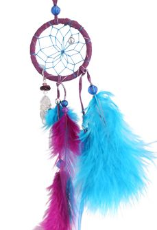 "Magical Dream Catcher  Detailed with pig split hide, glass beads, silver craft beads and faucet beads, a metal feather, a quartz crystal and turkey and hackle feathers. Webbed with sinew. Size: 2"" - Ojibway Indian made- http://www.indianvillagemall.com/dreamcatchers/magicial.html"