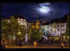 Always wonderful Preseren Square in Ljubljana-lots of drinking went on here