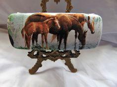 "Adult unisex hard handmade eyeglass case,""Horses at Riverbank"", health & beauty, vision ca... $14.95"
