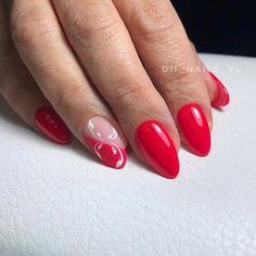 Дизайн ногтей тут! ♥Фото ♥Видео ♥Уроки маникюра Red Gel Nails, Nail Manicure, Acrylic Nails, Nail Polish, Square Nail Designs, Red Nail Designs, Nail Designs Spring, Cute Almond Nails, Almond Nail Art