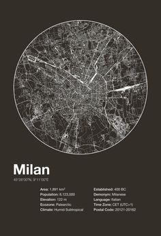 Street Map Art City Print Milan Italy by EncoreDesignStudios