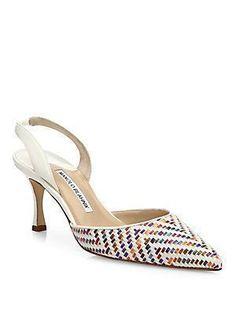 MANOLO BLAHNIK CAROLYNE BROCADE SLINGBACK PUMPS. #manoloblahnik #shoes # #manoloblahnikslingback