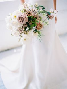 mauve, white and green garden inspired bouquet