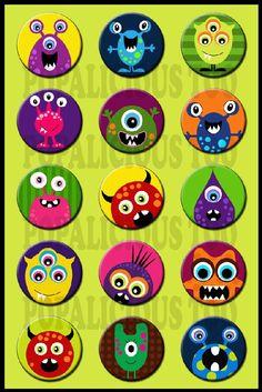 Cute Monsters flat back buttons pin back buttons by popalicioustoo