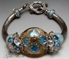 Opal Florals Lampwork Bracelet by Lydia Muell