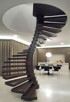 Amazing spine like stair, looks stunning but not sure about climbing it with a ballustrade  Villa Moerkensheide by Dieter De Vos Architecten (10)