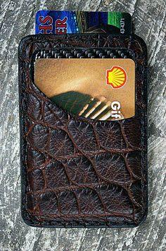 Vvego Alligator and Carbon Fiber Minimalist Wallet