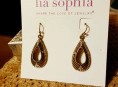 "Lia Sophia ""Gilty"" Earrings - Antiqued Matte Gold with Cut Crystals New #LiaSophia #DropDangle"