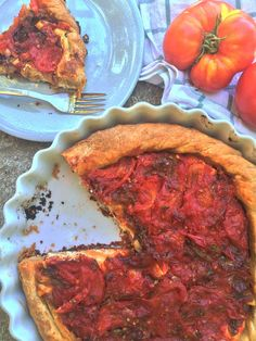 Sweet and Savory Tomato Tart with Feta and Onions