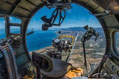 "The beautiful California coast as seen from the bombardier's position on the Collings Foundation's B-17G ""909"" — in San Luis Obispo, California."