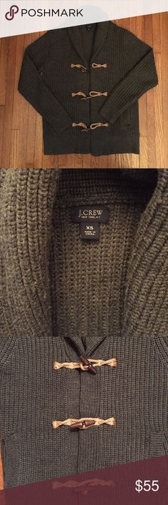 JCrew Shawl Toggle Cardigan Awesome, like new, 100% Wool, hunter green, knit, 3 toggle, 2 pocket cardigan. This classic piece no longer fits. Worn less than a handful of times J. Crew Sweaters Cardigan