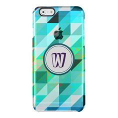 Monogram Blue Green Geometric Pattern Uncommon Clearly™ Deflector. Ultra Slim Clear iPhone 6/6S Plus, iPhone 6/6S, iPhone 5/5S Cases