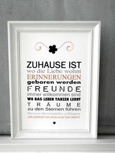 Originaldruck - FINE ART Druck ZUHAUSE IST... Kunstdruck Print - ein Designerstück von homestyle-accessoires bei DaWanda