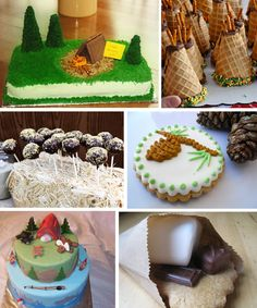 supplies for camping party | cupcakes, cakes, cake pops, smores, tepee cones, pine cone cookies