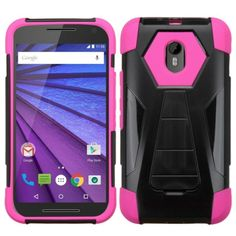 Insten Hard PC/ Silicone Dual Layer Hybrid Case Cover with Stand For Motorola Moto G