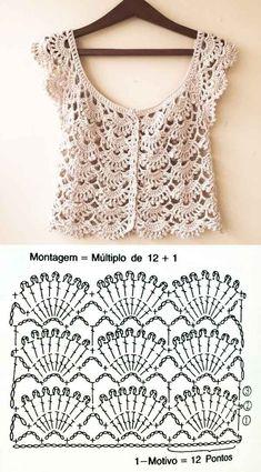 20 Lindos Modelos De Blusa De Crochê ⋆ De Frente Para O Mar Kleidunghäkeln - Responsive - Diy Crafts - DIY & Crafts Blouse Au Crochet, Débardeurs Au Crochet, Gilet Crochet, Mode Crochet, Crochet Cardigan Pattern, Crochet Shirt, Crochet Jacket, Crochet Diagram, Crochet Stitches