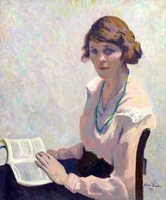 Portrait in Grey (1920).Allen Tucker (American. 1866-1939). Oil on canvas.In the 1920s, Allen Tucker's portraits were viewed as explicitly modern due to his attention as much to each part of his subject matter as to the features of the individual depicted. His style, strongly influenced by van Gogh, is exemplified in Portrait in Gray.
