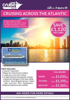#loveroyal 27th April 2017 Transatlantic 14ngt FB cruise 1ngt pre-cruise stay Miami from £1035 per person inc flights!  Call 0800 975 7584