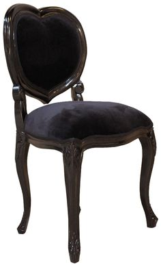 French Noir Black Painted 'Heart' Chair