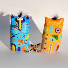 Cat figurine, paper mache sculpture, collectible cat, handmade statuette, wood