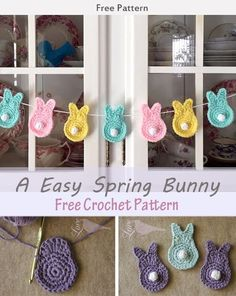 crochet applique This Easy Spring Bunny Free Crochet Pattern is a great Easter decoration you can add to your house! Make one now with the free pattern provided by the link below. Easter Bunny Crochet Pattern, Crochet Rabbit, Crochet Patterns Amigurumi, Crochet For Easter, Crochet Crafts, Crochet Projects, Free Crochet, Free Easy Crochet Patterns, Crochet Ideas