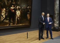 Amazing scenery: the Night Watch by Rembrandt, president Obama and Wim Pijbes, head director of the most beautiful museum in the world: The Rijksmuseum in Amsterdam
