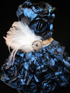NEW Couture Rosette Dog Dress Smoky Blue Dog Dress _ Dog Clothes _ Harness Custom hand-made small breed dog dresses. Made in Michigan : ) This dress exudes sophistication -- your little girl will look spectacular in it! Contact: bratbyfive@gmail.com for ordering