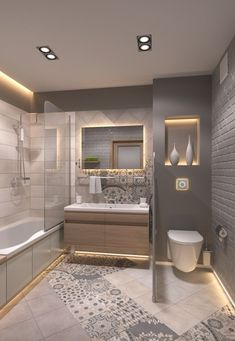 DREAM BATHROOM!!  Storage between the sinks and NOTHING on the counter...because if a great tower storage.  #interiorbathroomtrends #designideas #smallbathroomideas #smallbathroomremodel #smallbathroom 65 Most Popular Small Bathroom Remodel Ideas on a Budget in 2018