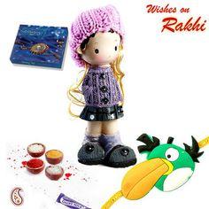 Buy Rakhi gifts Kids - Pretty dressed ceramic Motif Rakhi Hamper
