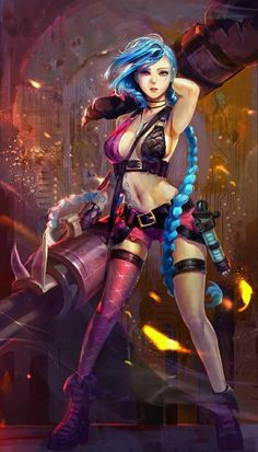 Jinx from League of Legends - fanart Lol League Of Legends, Illaoi League Of Legends, Video Game Characters, Fantasy Characters, Female Characters, Fictional Characters, Fantasy Women, Fantasy Girl, Manga Comics