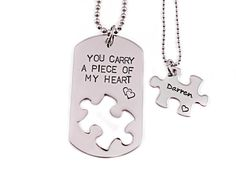 You Carry A Piece Of My Heart  Couple Necklace by Stampressions, $39.00