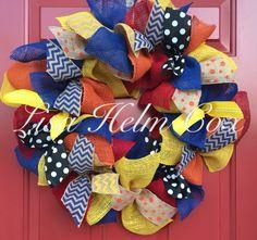 Multi-colored burlap wreath