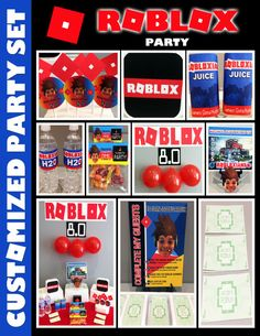 Roblox Theme Party Set, Roblox Birthday - Printable and Printing Available Lego Birthday Party, 10th Birthday Parties, 7th Birthday, Birthday Ideas, Birthday Cake, Happy Party, Minecraft Party, Party Entertainment, Birthday Invitations