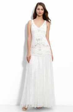 Sue Wong Drop Waist Lace Gown in Ivory from Nordstrom $548.00.  I would have thought this was too ornate for me... but I kind of love it