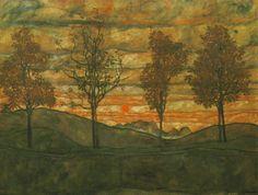 Egon Schiele - quatres arbres
