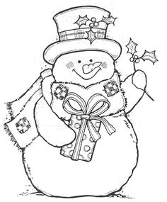 Snowman coloring sheet for kids (or adults!)