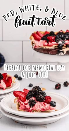 Red, white, and blue fruit tart - Easy pre-made pie crust, light cream cheese filling, and fresh or frozen berries make this the perfect patriotic dessert for Memorial Day, July 4th, or Labor Day! This red, white, and blue fruit tart is a light and refreshing end to any summer picnic or holiday meal! #fruittart #july4th #4thofjuly #independenceday #memorialday #dessert #picnicfood #picnicsidedishes Picnic Side Dishes, Patriotic Desserts, Blue Fruits, And July, Fruit Tart, Cream Cheese Filling, Light Cream, Summer Picnic, Healthy Dishes