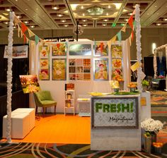 bridal show booth, colorful fruit stand theme