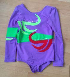 """Купить купальник с рукавами """"Виктория"""" для девочки - фиолетовый, абстрактный, лайкра, стразы, блеск, спортивный купальник"""