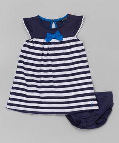 Another great find on #zulily! Navy Stripe Angel-Sleeve Dress - Infant, Toddler & Girls #zulilyfinds